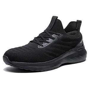 KUBUA Women's Walking Shoes Sock Sneakers Mesh Lace-up Running Shoes for Lady Girls's Tenis Shoes Black