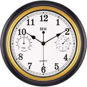 BEW 12 Inch Silent Wall Clock with Thermometer, Small Retro Battery Operated Indoor Wall Clock for Bedroom Kitchen Living Room (Black-Golden)