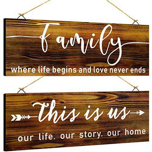 Jetec 2 Pieces Wood Family Sign This is Us Rustic Wall Decor Home Sign Wall Decorations Farmhouse Entryway Signs for Bedroom Living Room Office Wall Outdoor Decor, 13.8 x 5.1 Inch