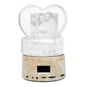 Personalized Photo Gifts Crystal Romantic Music Box, Photo Frame Rubik's Cube, Custom Anniversary Heart Crystal Romantic Music Box Base