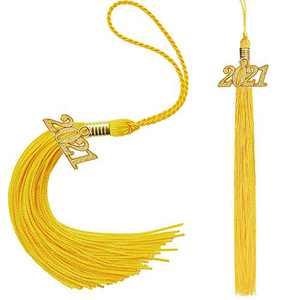 Eaaglo Tassel, Graduation Tassel, Graduation Cap Tassel with 2021 Year Charm Ceremonies Accessories for Graduates 2 Pcs(Golden)