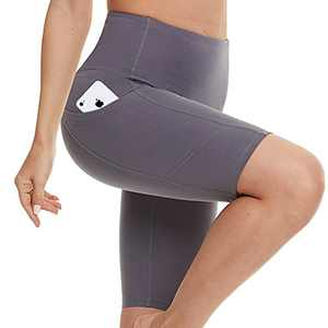 Biker Shorts for Women with Pockets - High Waisted Yoga Shorts for Workout, Running, Athletic, Exercise Grey