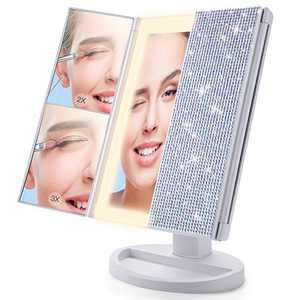 Beauty Planet Makeup Mirror with Lights, Bling Bling Crystal Rhinestones,3 Color Lighting Modes 72 LED, Trifold Vanity Mirror with 3X/2X/1X Magnification, Touch Control Design, Dual Power Supply(AB)