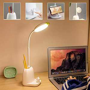 Kids Desk Lamp with Pen Holder,Eye-Protection Kids Small Lamp for Small Space with USB Charing Port, Phone Holder, College Dorm Room, Touch Kids Desk Light for Students Home Work Study Read Office