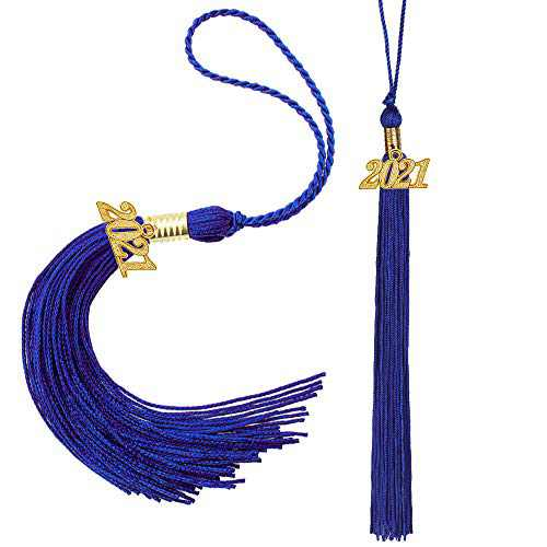 Eaaglo Tassel, Graduation Tassel, Graduation Cap Tassel with 2021 Year Charm Ceremonies Accessories for Graduates 2 Pcs(Royal Blue)