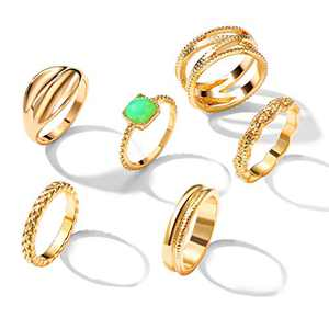 6 Pcs Gold Stackable Knuckle Rings Set for Women Girl, Fashion Comfort Fit Small Joint Finger Rings for Gift (Size: 6-7)