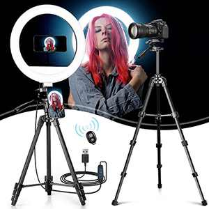 """Lasama 12"""" Ring Light with 3 Color Modes, 10 Adjustable Brightness, 53.7"""" Extendable Tripod Stand, 3 Phone Holders, Bluetooth Remote Shutter, Led Light for Photography/Makeup/YouTube/Vlogs"""
