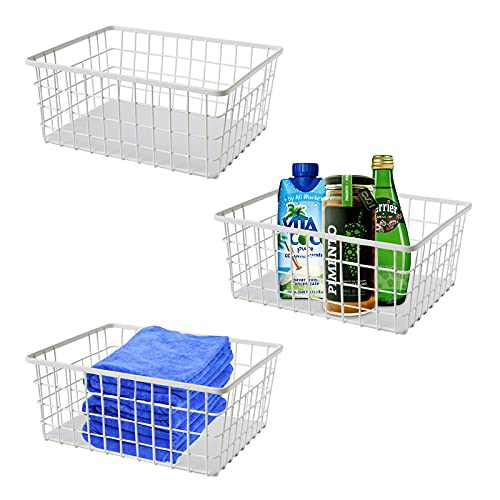 """Metal Storage Basket,Modern Farmhouse Style Decorative Wire Mesh Basket, Used for Cabinets, Shelves, Countertops, Bathrooms, Bedrooms, Closets,11""""x7""""x4""""(3 Pieces Set-Matte White)"""