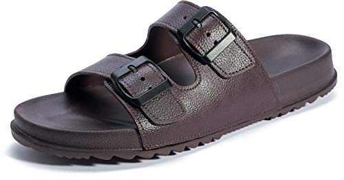 WHITIN Men's Arizona Adjustable Buckle Double Strap Slide Sandals Waterproof Anti-Slip Soft Footbed Sandles Size 9 Summer Fashion Lightweight Indoor Outdoor Beach Slippers Brown 42