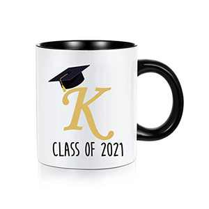 2021 Graduation Gifts for Him Her, Class of 2021 Grad Present Inspirational High School Masters Degree College Graduation Gifts, White Ceramic 11 oz Initial Mugs Coffee Tea Cup