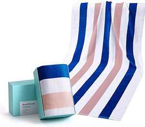 "WIIKWEEK Large Beach Towel, 100% Cotton Stripe Pool Towel for Swim, SPA, Yoga, Travel-Soft, Highly Absorbent, Skin Friendly (30"" x 60"", 1 Pack)"