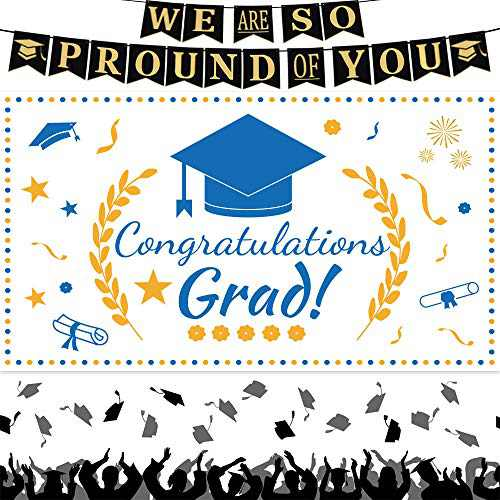 2021 Graduation Decorations We Are So Proud of You Graduation Banner Extra Large Blue White Congratulations Grad Photo Backdrop for Outdoor Indoor Wall Apartment Decor Graduation Party Supplies
