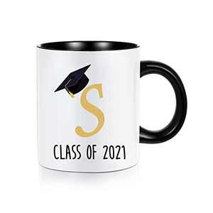 Graduation Gifts for Her Him 2021, Class of 2021 Grad Present Inspirational High School College Graduation Gifts for Her, White Ceramic 11 oz Initial Mugs Coffee Tea Cup