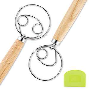 """Danish Dough Whisk,bread dough whisk, 13"""" 2 Pcs Stainless Steel Wooden Dutch Whisk,Kitchen Dough Cooking Tools for Bread, Pastry, Pizza Blending, Baking,Danish Whisk,Danish Dough Hook"""