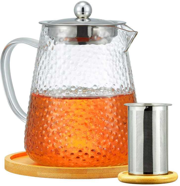 ROIMTEA Frosted Glass Teapot Kettle with Removable Stainless Steel Infuser & Bamboo Coasters, Stovetop Microwave Safe for Blooming and Loose Leaf Tea, 950ml/32oz