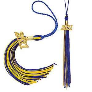 Eaaglo Tassel, Graduation Tassel, Graduation Cap Tassel with 2021 Year Charm Ceremonies Accessories for Graduates 2 Pcs(Blue Gold)