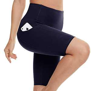 Biker Shorts for Women with Pockets - High Waisted Yoga Shorts for Workout, Running, Athletic, Exercise Navy