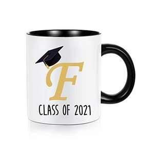 Class of 2021 Graduation Gifts for Her Him, Grad Gifts Inspirational High School College Graduation Gifts for Her Best Friend Women, White Ceramic 11 oz Letter Initial Mugs Coffee Tea Cup