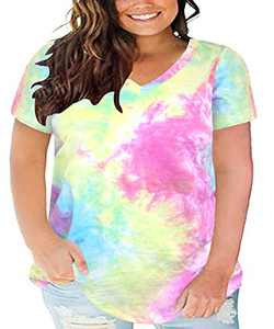 Ritera Ladies Plus Size Tunic Short Sleeve Tie Dye Casual Summer Loose Fit Blouses Flowy Shirts Shirt Tops pink blue 5XL