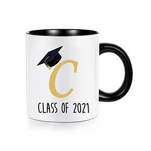 2021 Graduation Gifts for Her Him, Class of 2021 Congrats Gifts Motivational High School College Graduation Gifts for Women, White Ceramic 11 oz Initial Mugs Coffee Tea Cup