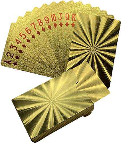 Kxlody Playing Cards ,Radiation Sensation Design Cool Gold Foil Plastic Poker Cards Waterproof Deck of Cards with Gift Box,Suitable for Party Games and Entertainment (Gold-Radiation)
