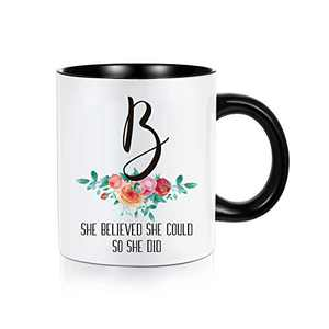 2021 Graduation Gifts for Her, She Believed She Could So She Did Encouragement High School College Class of 2021 Graduation Gifts for Women, 11 oz Initial Mugs White Ceramic Coffee Tea Cup