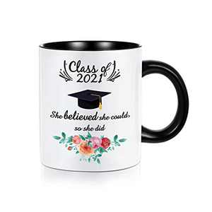 2021 Graduation Gifts for Her, Class of 2021 She Believed She Could So She Did Inspirational High School College Graduation Gifts for Women, White Ceramic 11 oz Initial Mugs Coffee Tea Cup