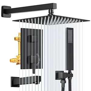 YITAHOME Shower System with Waterfall Tub Spout, 3-Function Shower Faucet Set with 10 Inch Rain Shower Head and Handheld, High Pressure Brass Rough-in Valve & Trim Kit Matte Black