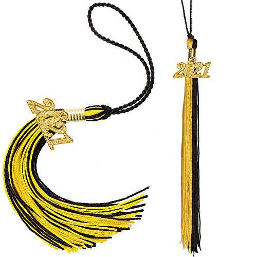 Eaaglo Tassel, Graduation Tassel, Graduation Cap Tassel with 2021 Year Charm Ceremonies Accessories for Graduates 2 Pcs(Black Gold)