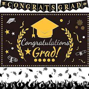 Eaaglo Graduation Decorations 2021, Congrats Grad Graduation Banner, Extra Large Black Gold Congratulations Backdrop Yard Sign, Outdoor Indoor Wall Apartment Decor Graduation Party Supplies