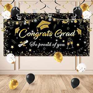 "Graduation Decorations 2021, Graduation Background, Graduation Party Theme Decoration Graduation Party Banner 1 Pack (70.8""x42.9"") 12 Pcs Balloons and 12 Pcs Hanging Swirls …"
