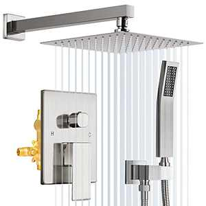 YITAHOME Bathroom Shower System, 10 Inches Wall Mounted Rain Mixer Dual Shower Heads Complete Pressure with Rainfall Handheld Shower Faucet Set, Rough-in Valve & Trim Kit, Brushed Nickel