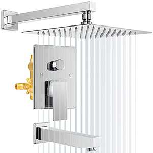 Shower System with Waterfall Tub, Bathroom Luxury Rain Mixer Combo Set Wall Mounted Rainfall Shower Head Chrome, Contain Faucet Rough-in Valve Body and Trim