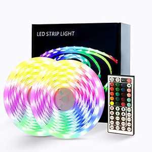 LED Lights for Bedroom, Ultra Long RGB 5050 Color Changing 65.6ft Led Strip Lights for Desk Home Decoration Garage Party Festival with 44 Keys Remote 12v Power Supply