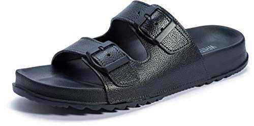 WHITIN Men's Arizona Adjustable Buckle Double Strap Slide Sandals Waterproof Slip Resistant Sandles Size 10 Summer Casual Lightweight Open Toe Indoor Outdoor Slippers Black 43