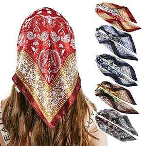 5PCS Satin Head Scarf Bandanas for Women Square Silk Like Hair Scarves Silk Hair Bandanas Night Sleeping Head Scarf 23.6 inch