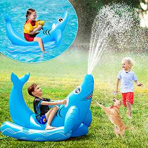 Sprinkler for Kids - Inflatable Pool Float Ride-on Shark Water Toys with Durable Handles,Yard Sprinkler Summer Outdoor Fun Toys Swimming Pool Party Toys for Kids Adults