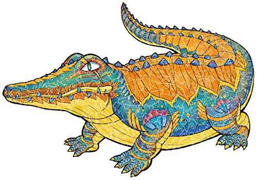 Wooden Jigsaw Puzzles - Vahome Crocodile Animal Shaped Jigsaw Puzzle Wooden Toy Game, Gift for Kids and Adults, 200 Unique Pieces, Finished Size 8.3 x 11.7 Inches
