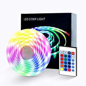RGB LED Lights Strip , 32.8ft Color Changing Tape Easy Installation with IR Remote for Bedroom Garbage Car Ceiling