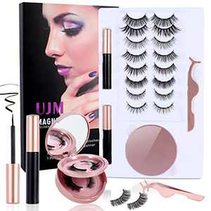 UJM 10 Pairs Magnetic Eyelashes with Eyeliner, 2 Tubes Magnetic Eyeliner 5D Magnetic Lashes Kit Reusable Magnetic False Lashes with Mirror Box Last Long Natural Look No Glue