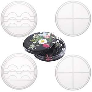 Tanlee 2 Sets Eyelashes Display Tray Resin Mold with Lid Silicone Eyelashes Holder Storage Mold Fake Eyelashes Box Case Resin Mold for DIY Craft Jewelry Making (2)