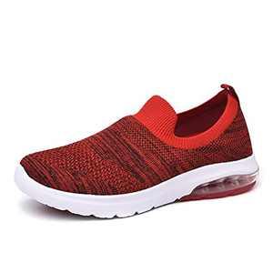 SIRUIYUAN Womens Running-Shoes Lightweight-Breathable Air-Sneakers - Mesh Walking Cushion Socks Gym Work Tennis Hiking Jogging Basketball Fashion Sneakers Shoes(RED-5-7)
