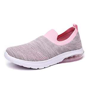 SIRUIYUAN Womens Running-Shoes Lightweight-Breathable Air-Sneakers - Mesh Walking Cushion Socks Gym Work Tennis Hiking Jogging Basketball Fashion Sneakers Shoes(GRAYPINK-1-6)