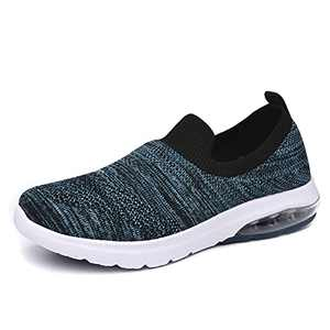 SIRUIYUAN Womens Running-Shoes Lightweight-Breathable Air-Sneakers - Mesh Walking Cushion Socks Gym Work Tennis Hiking Jogging Basketball Fashion Sneakers Shoes(BLACKNAVY-3-6)