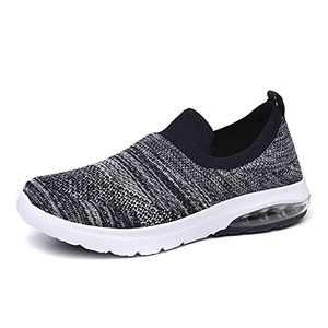 SIRUIYUAN Womens Running-Shoes Lightweight-Breathable Air-Sneakers - Mesh Walking Cushion Socks Gym Work Tennis Hiking Jogging Basketball Fashion Sneakers Shoes(NAVYGRAY-2-8)