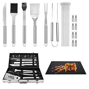 Stainless Steel BBQ Tool Set with BBQ Grill Mats BBQ Grill Tools Set Gifts for Men Women - Camping Barbecue Grilling Utensils Kit - Ideal BBQ Gift on Birthday Christmas (22 PCS)