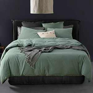 ECOCOTT Green Duvet Cover Queen Size, 3 Piece 100% Washed Cotton 1 Duvet Cover with Zipper and 2 Pillowcases, Ultra Soft and Easy Care Breathable Cozy Bedding Set(Basil Green,Queen)