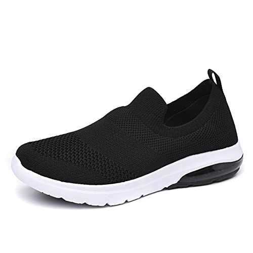 SIRUIYUAN Womens Running-Shoes Lightweight-Breathable Air-Sneakers - Mesh Walking Cushion Socks Gym Work Tennis Hiking Jogging Basketball Fashion Sneakers Shoes (Black, Numeric_10)