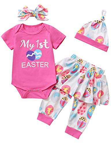 Happidoo Baby Girl My 1st Easter Bodysuit Infant Easter Bunny Eggs Outfit Set with Hat and Headband (Pink, 12-18 Months)