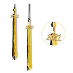 """Graduation Tassel 2021, Tassels for Graduation Cap 2021, 2021 Tassel Charm, 9"""" Graduation Tassels(Black and Gold)"""